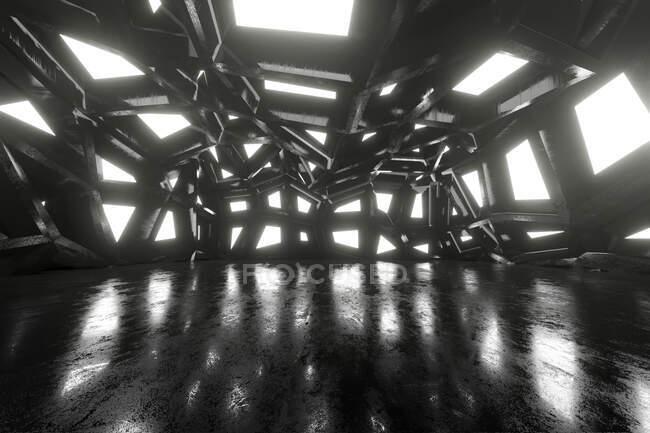 Three dimensional render of black futuristic interior — Stock Photo