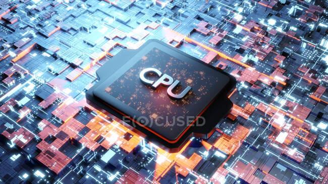 Ilustración tridimensional de la CPU en la placa base - foto de stock