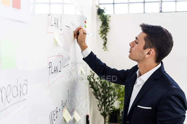 Handsome entrepreneur writing strategy on whiteboard while making business plan at creative workplace — Stock Photo
