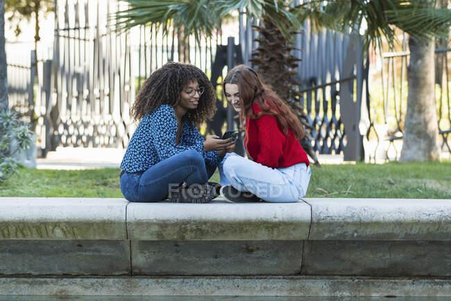 Mujeres jóvenes sonrientes usando el teléfono móvil en el muro de contención en el parque público - foto de stock