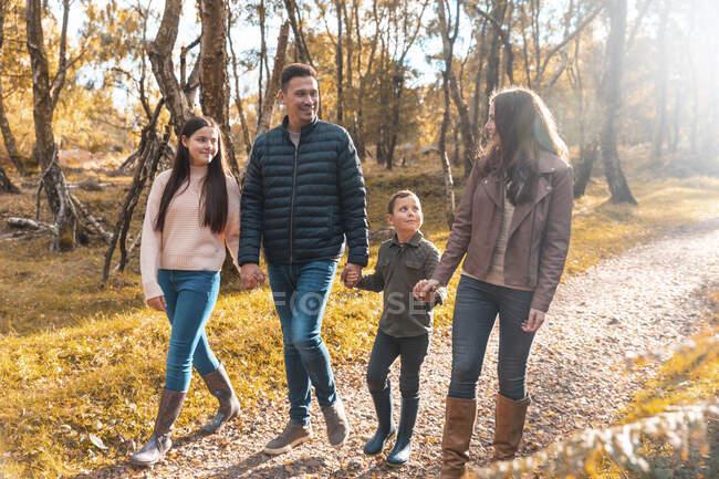 Семья смотрит друг на друга, держась за руки, гуляя в парке осенью. — стоковое фото