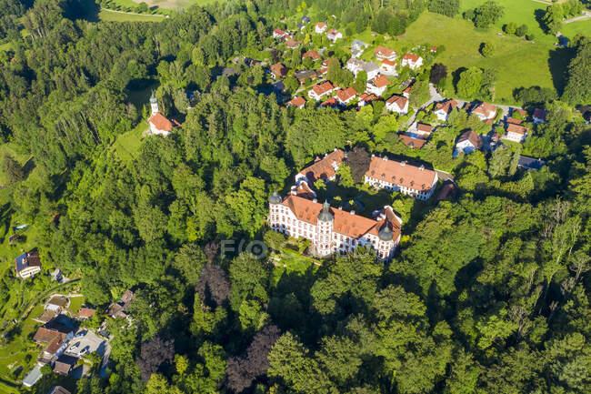 Alemania, Baviera, Eurasburgo, Drone vista del castillo de Eurasburg rodeado de arboleda verde - foto de stock