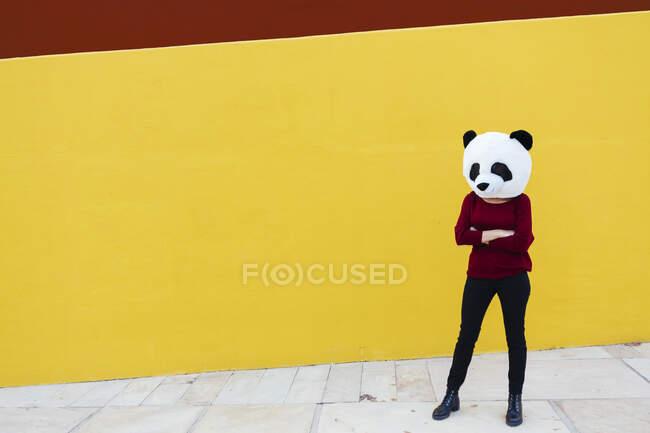 Mujer con los brazos cruzados usando máscara de panda mientras está de pie contra la pared amarilla - foto de stock