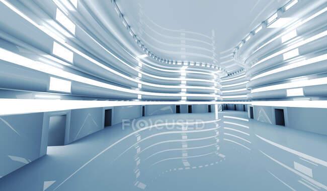 Трехмерный рендеринг ярко освещенного футуристического коридора — стоковое фото