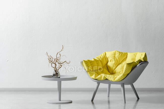 Sillón y mesa de centro, representación 3d - foto de stock