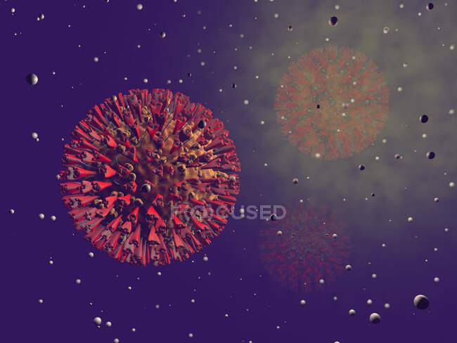 Three dimensional render of COVID-19 cell - foto de stock