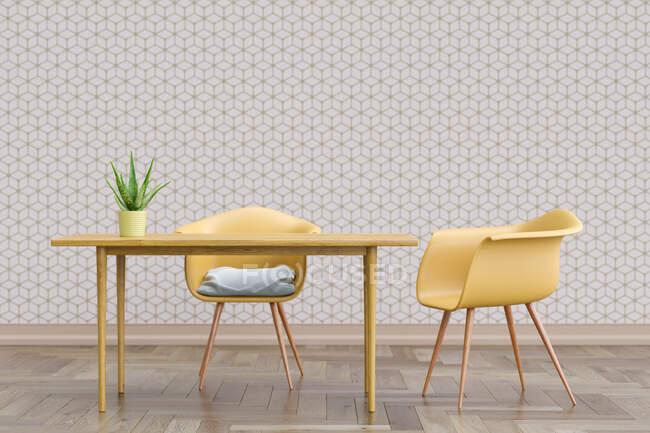 Rendu tridimensionnel de deux chaises debout par table simple avec mur recouvert de papier peint cube géométrique — Photo de stock