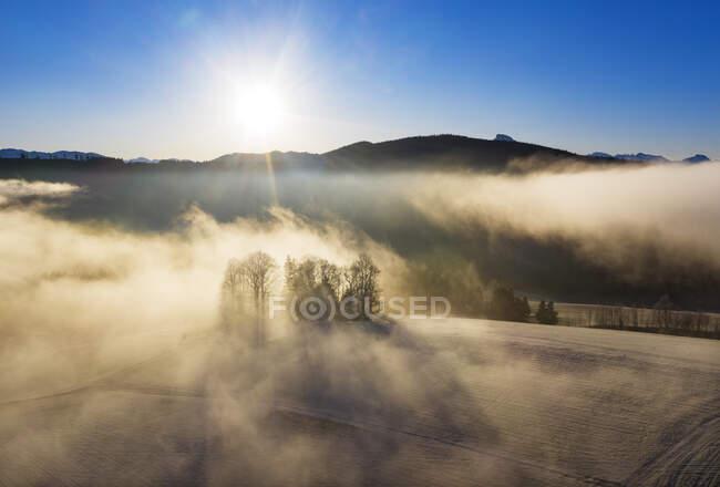 Vista aérea dos campos de outono envoltos em névoa espessa ao nascer do sol — Fotografia de Stock