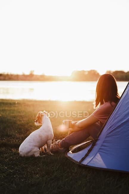 Frau zeltet mit Hund bei Sonnenuntergang auf Wiese gegen See — Stockfoto