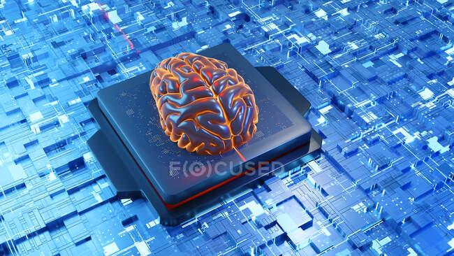 3D illustration of brain on circuit board over neural network - foto de stock
