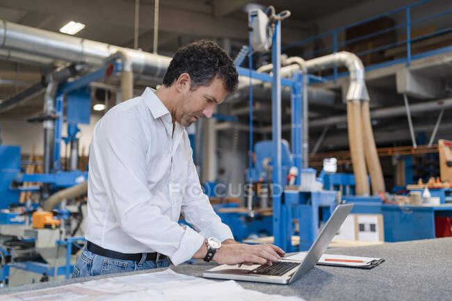 Portrait of carpenter using laptop in production hall — стоковое фото
