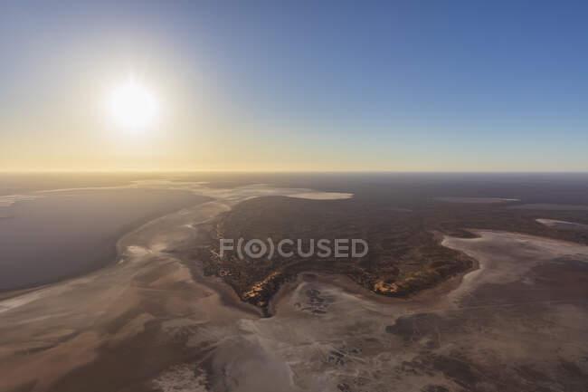 Australia, Northern Territory, Aerial view of Lake Amadeus at sunset — Stock Photo