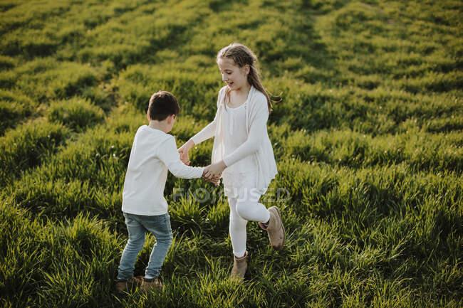 Хлопчик і дівчинка тримаються за руки, граючи на траві в сонячний день. — стокове фото