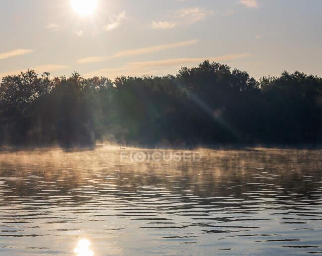 Río Saone a la salida del sol brumosa - foto de stock