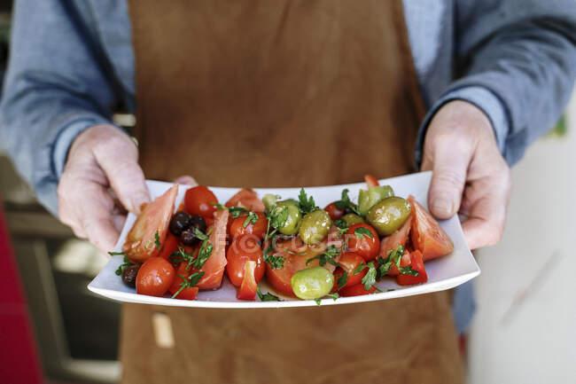 Homem sênior com avental segurando bandeja de tomates — Fotografia de Stock