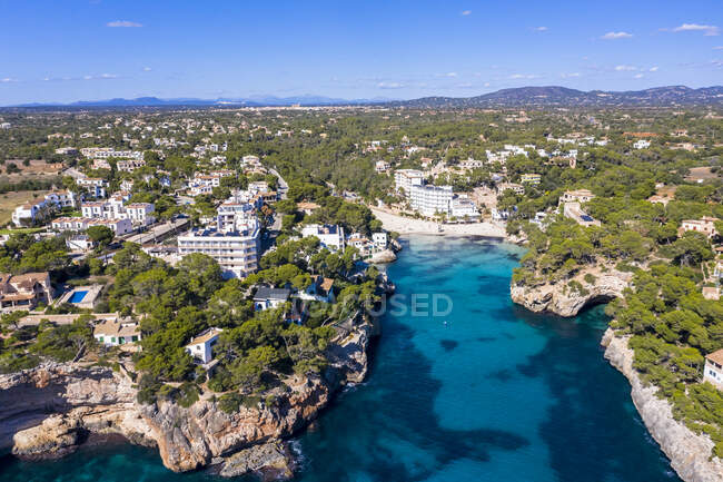 Spagna, Isole Baleari, Cala Santanyi, Veduta aerea della baia di Cala Llombards di Maiorca — Foto stock