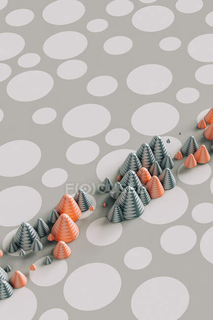 Three dimensional render of red and gray cones laid on polka dot pattern — Stock Photo