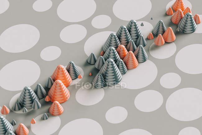 Rendering tridimensionale di coni rossi e grigi disposti su motivo a pois — Foto stock