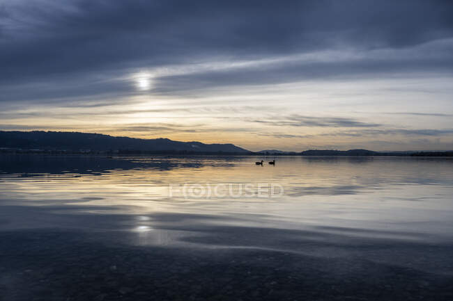 Alemania, Baden Wuerttemberg, Radolfzell, Moody sky reflection in Lake Constance - foto de stock