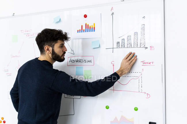 Young businessman at whiteboard with graphs in creative office conference room — Stock Photo