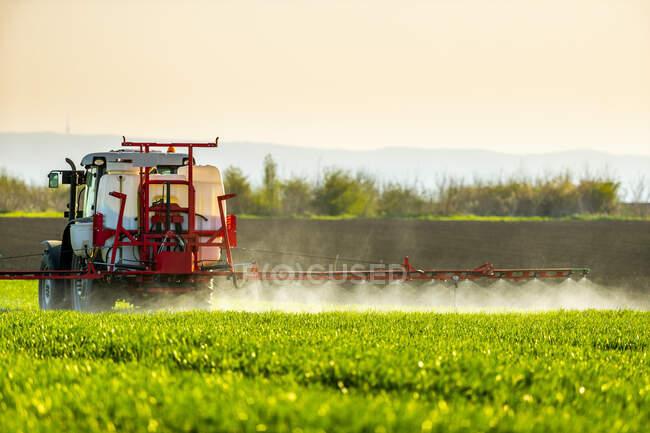 Tractor watering green crop in farm — Stock Photo