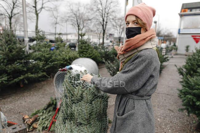 Женщина покупает елку на рынке во время COVID-19 — стоковое фото
