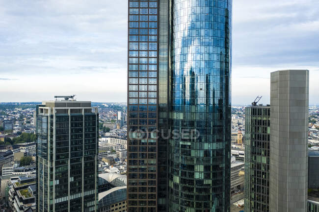 Germany, Hesse,Frankfurt, Aerial view of downtown skyscrapers — Stock Photo