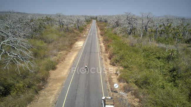 Vista aérea de un jeep y una mujer en medio de una carretera rodeada de árboles de Baobab, zona de Cabo Ledo, Angola. - foto de stock