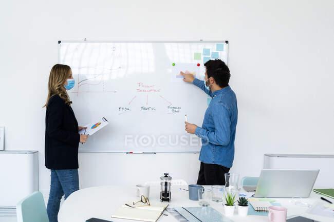 Empresários usando máscaras protetoras usando quadro branco no escritório — Fotografia de Stock