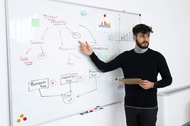 Businessman having presentation in office, pointing at whiteboard — Stock Photo