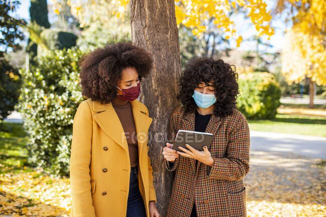 Giovani donne che indossano maschera protettiva utilizzando tablet digitale mentre si appoggia su un albero al parco — Foto stock