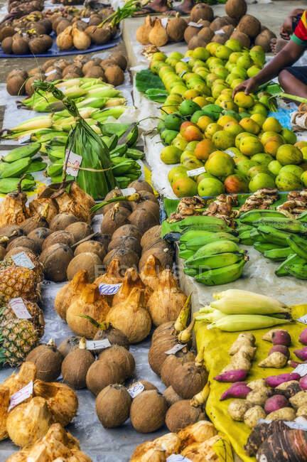Papua-Nova Guiné, Província de Milne Bay, Alotau, Frutos tropicais vendidos no mercado — Fotografia de Stock