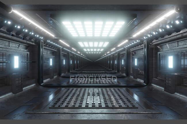 Rendimiento tridimensional del corredor futurista dentro de la nave espacial o estación espacial - foto de stock