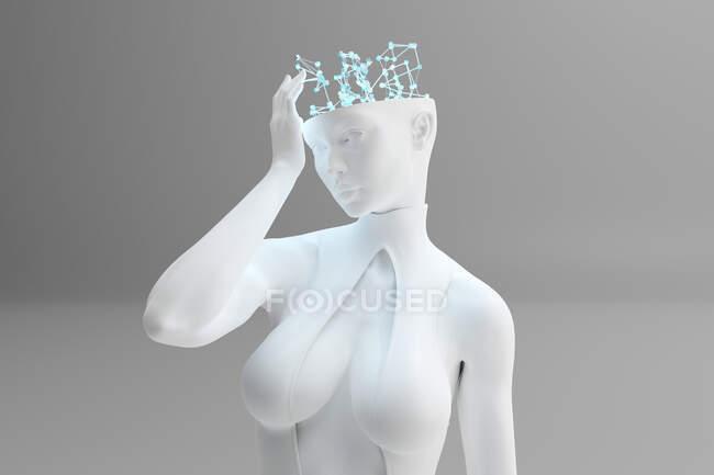 Ilustración 3D del carácter femenino con cerebro digital y proceso de pensamiento que simboliza el aprendizaje automático y la inteligencia artificial - foto de stock