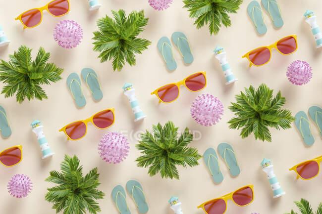 Patrón tridimensional de palmeras, gafas de sol, chanclas, faros y celdas COVID-19 - foto de stock