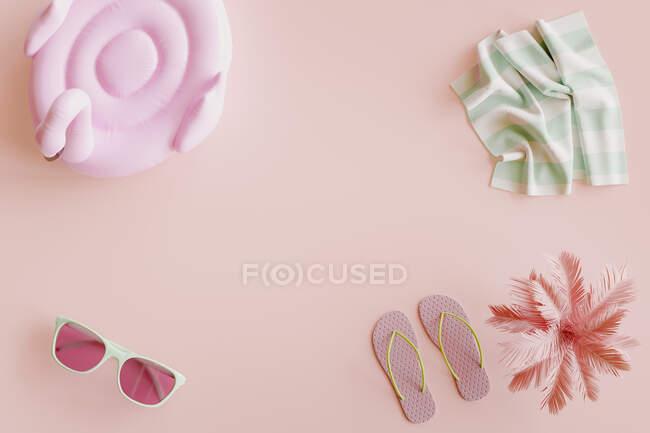 Rendering tridimensionale di galleggiante, occhiali da sole, infradito, palma e asciugamano piatto posato sullo sfondo rosa — Foto stock
