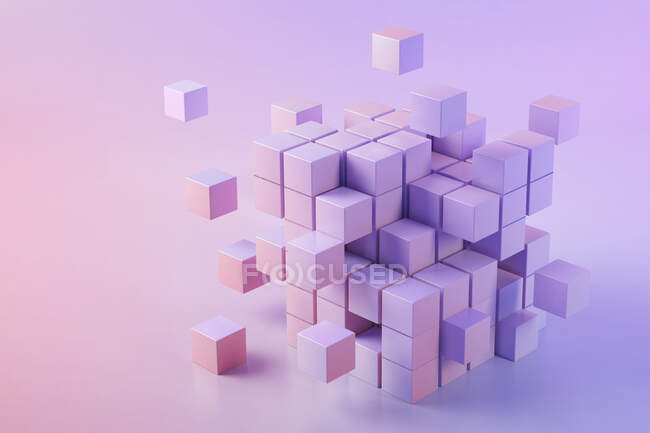 3D illustration of pink cubes — Stock Photo