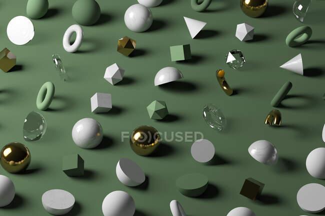 Oro, vidrio, mármol formas geométricas sobre fondo verde pastel - foto de stock