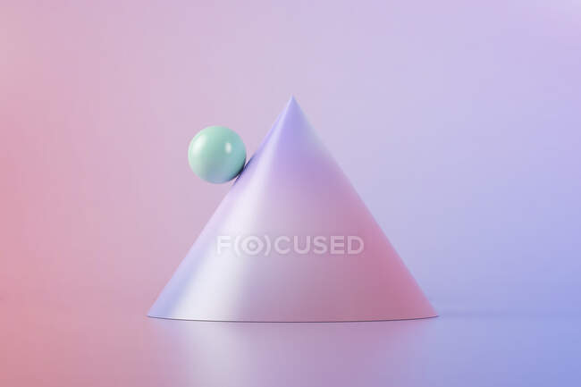 Three dimensional render of green ball balancing on slope of purple cone — Stock Photo