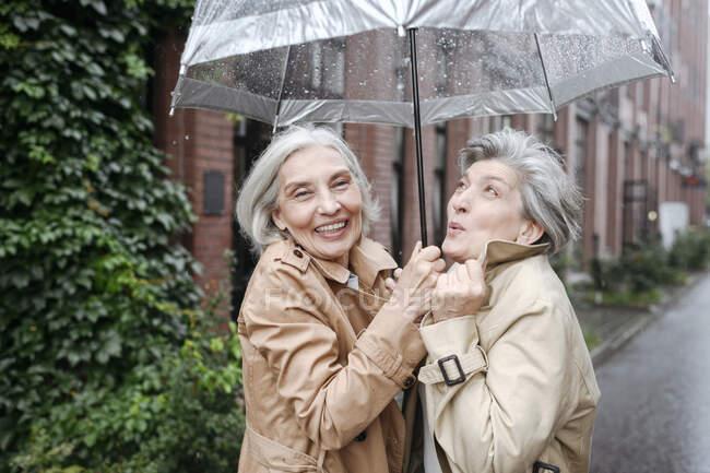 Feliz maduro amigos sosteniendo paraguas en día lluvioso — Stock Photo