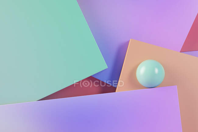 Three dimensional render of green sphere balancing against pastel colored rectangles — Stock Photo