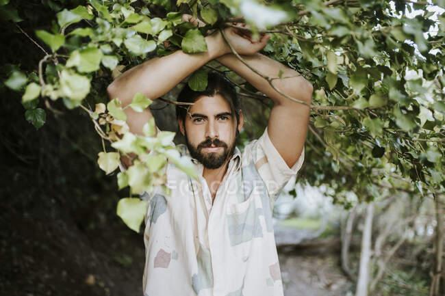 Hombre guapo con los brazos levantados en el bosque - foto de stock