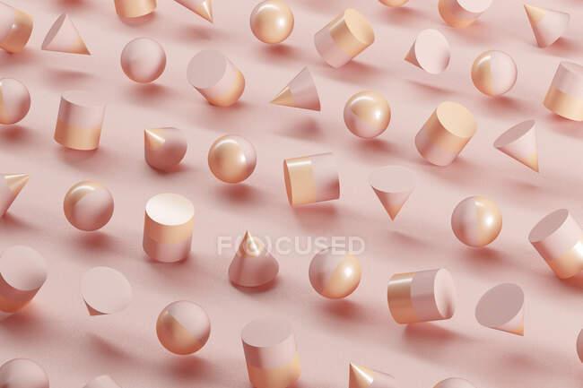 Patrón tridimensional de esferas, conos y cilindros flotando sobre fondo rosa - foto de stock