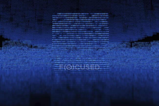 Renderizado tridimensional de códigos binarios flotantes azules - foto de stock