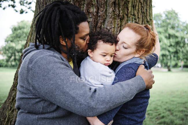 Pai e mãe beijando filho ao abraçar perto de tronco de árvore no parque — Fotografia de Stock