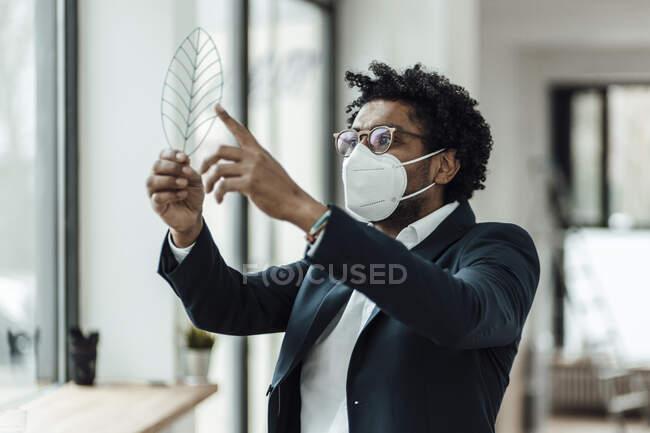 Мужчина-предприниматель рассматривает модель листьев в офисе во время пандемии — стоковое фото