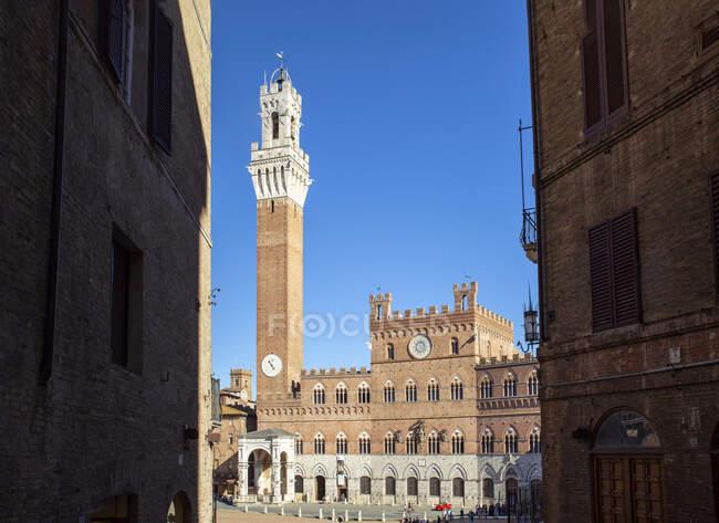 Италия, Тоскана, Сиена, чистое небо над Палаццо Публико и Торре-дель-Манджа — стоковое фото