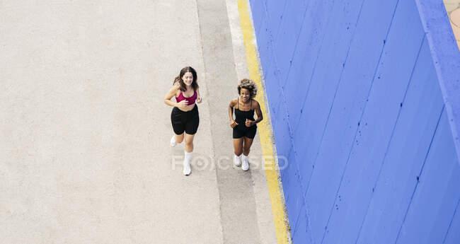Des amies souriantes qui courent ensemble sur le sentier — Photo de stock