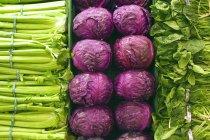 Selezione di ortaggi a foglia verde — Foto stock