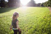 Заднього вигляду блондинка дівчина, що йде в поле при яскравому сонячному світлі, дерева у фоновому режимі — стокове фото